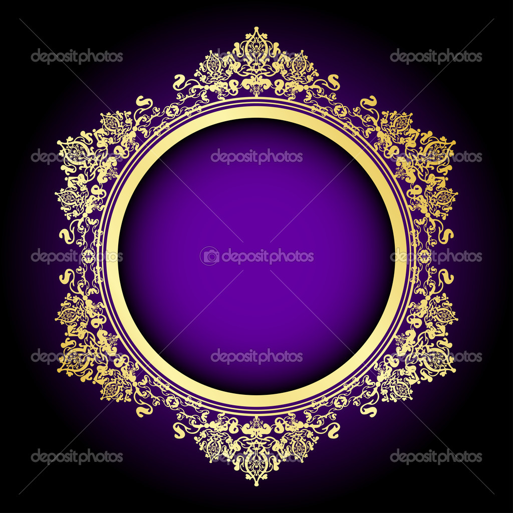 Vector purple & gold frame