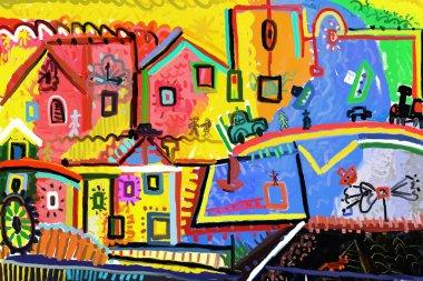 "Картина, постер, плакат, фотообои ""картина изображает сцену из жизни маленького городка "", артикул 11654933"