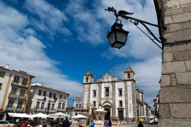 Central square with St Antonio church in Evora, Portugal