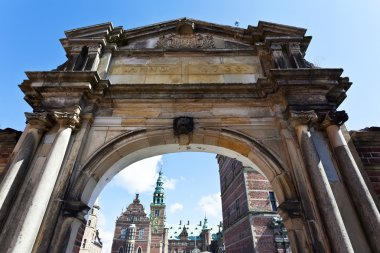 Entrance gate of Frederiksborg Slot castle in Hillerod, Denmark