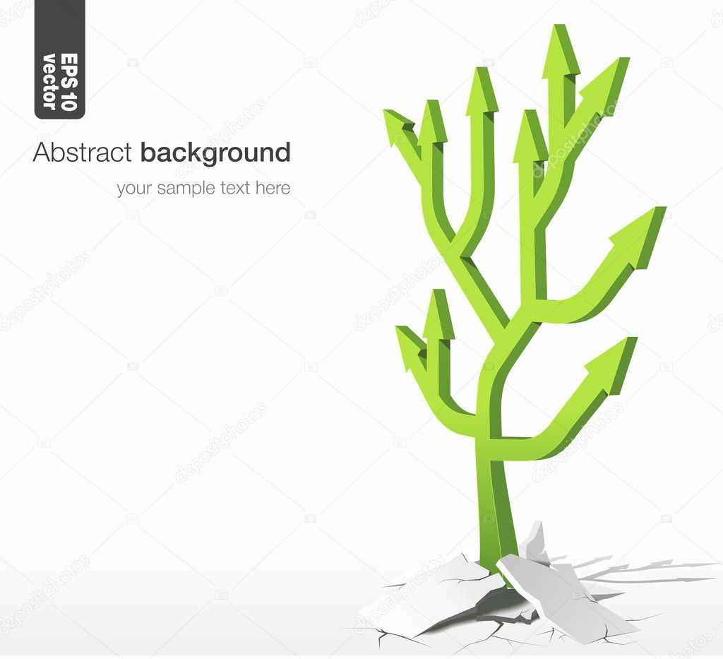 Arrows tree - growth success concept. Vector abstract background.