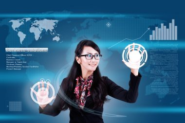 Future business solutions (woman in interface)