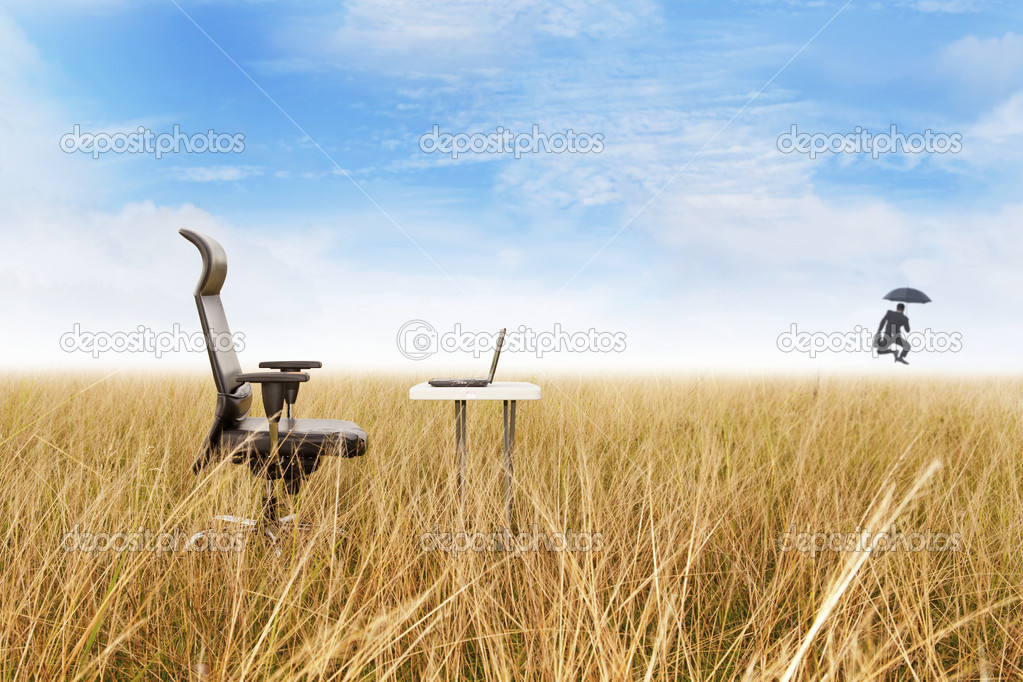 Outdoor office with success businessman dancing