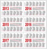 vektor kapesní kalendáře mřížky, set