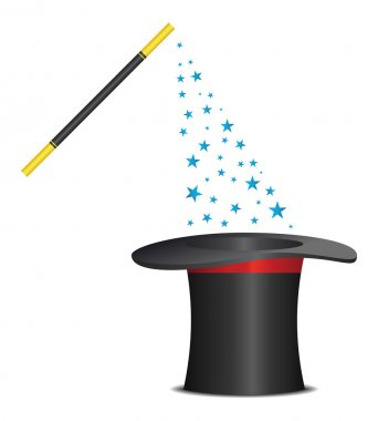 Magic hat and wand with sparkles. Vector illustration