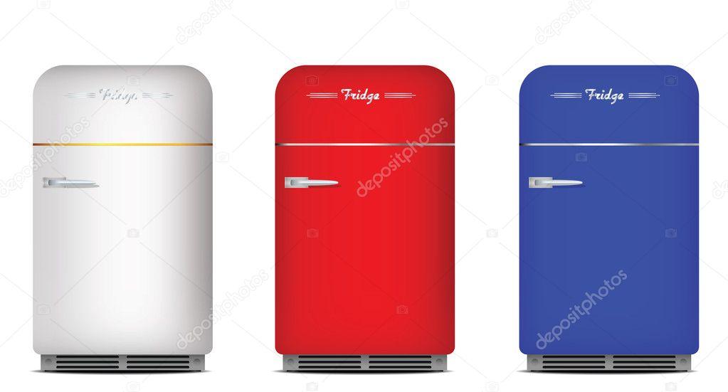 Kühlschrank Farbig Retro : Satz von retro kühlschränke u stockvektor ginko