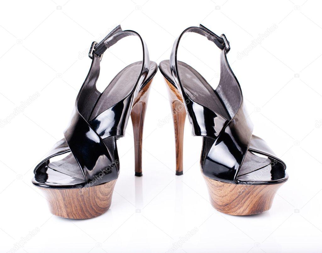 49b178e2ebc Black women shoes isolated on white background — Stock Photo ...