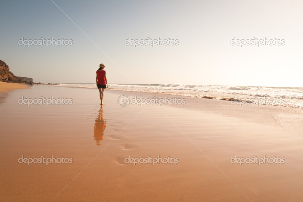 Solitary girl walking on the beach