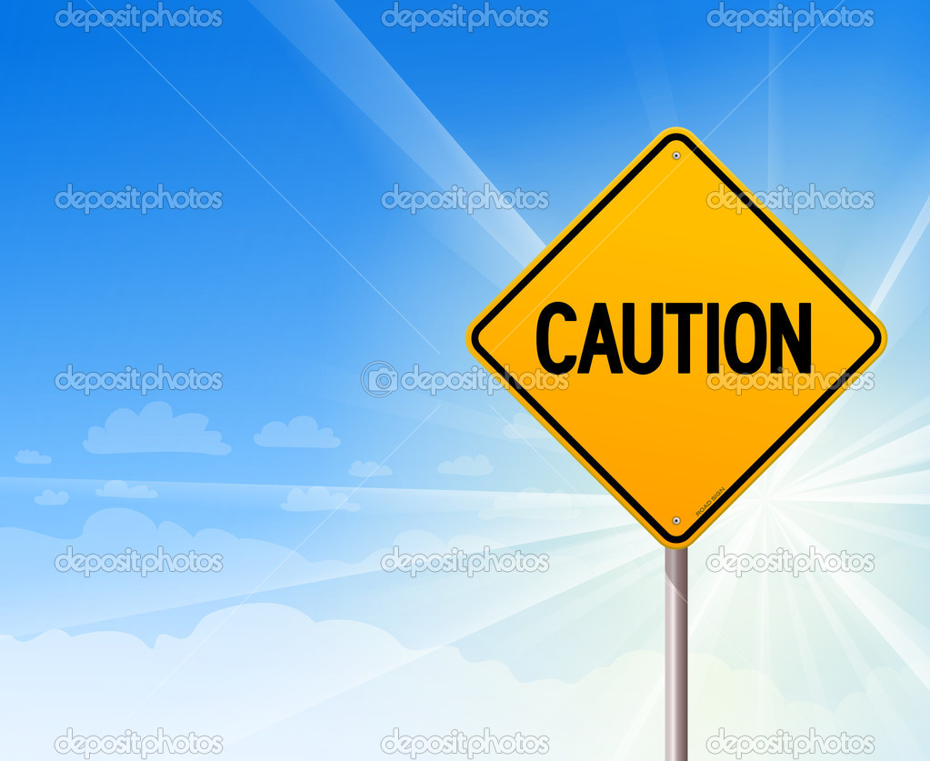 Caution on blue sky background — stock illustration