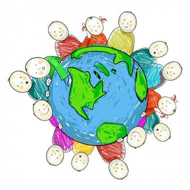 Earth with children