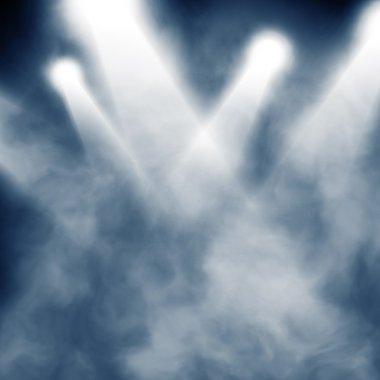 Spotlight blue on smog background