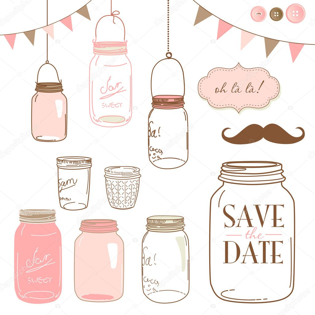 Glass Jars, frames and cute seamless backgrounds.