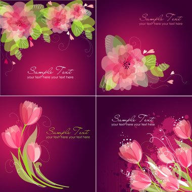Set of 4 Romantic Flower Backgrounds in pink and white colours. Ideal for Wedding invitation, birthday card or mother's day card clip art vector