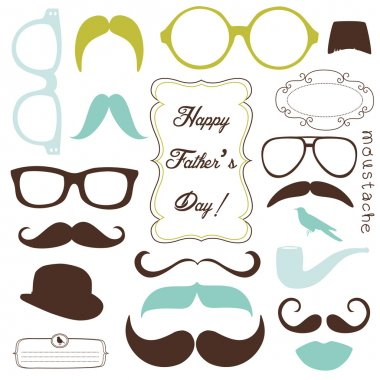 Happy Father day background, spectacles and mustaches, retro style