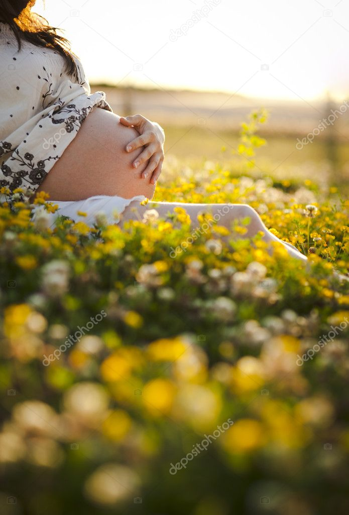 Pregnant Woman sit on the grass