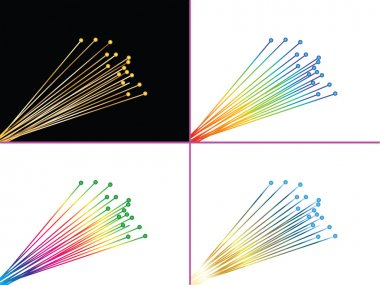 Four pages with optic fibers vector illustration editable