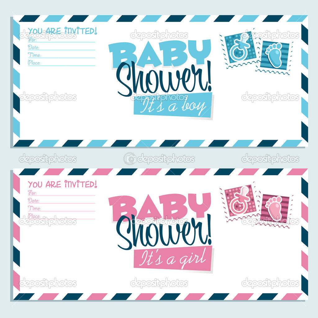 Baby Shower Invitation Envelopes — Stock Vector © Mictoon #11552288