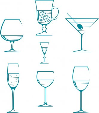 Set of symbols and icons glasses for alcoholic drinks