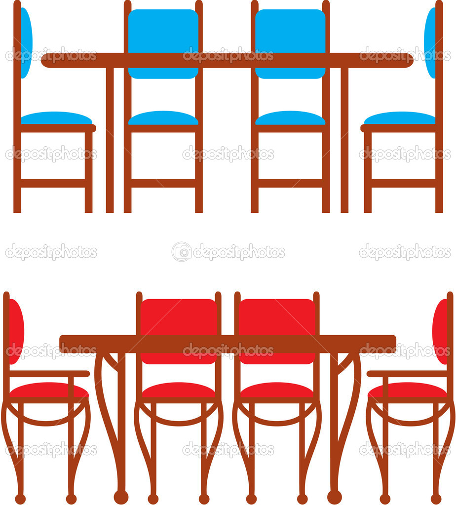 Set Of Dining Tables And Chairs Stock Vector