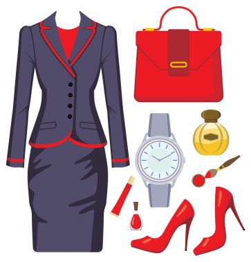 Fashion set from a female suit, accessories and cosmetics