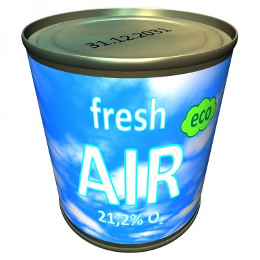 Can of ecologic fresh air - cartoon