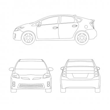 Medium size city car line art style vector illustration