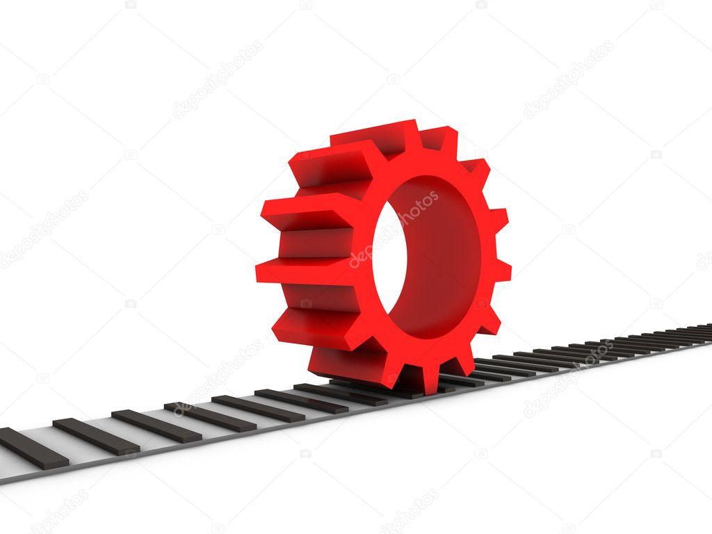 Red gear on railway