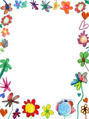 Vertical flowers frame, child illustration