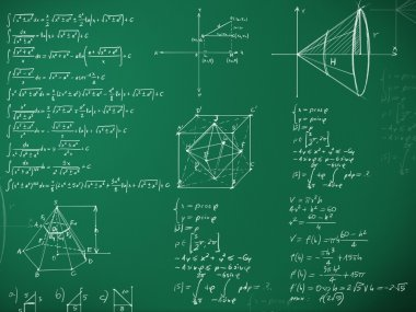 Math formulas on school blackboard