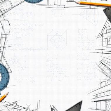Architect constructor designer background illustration stock vector