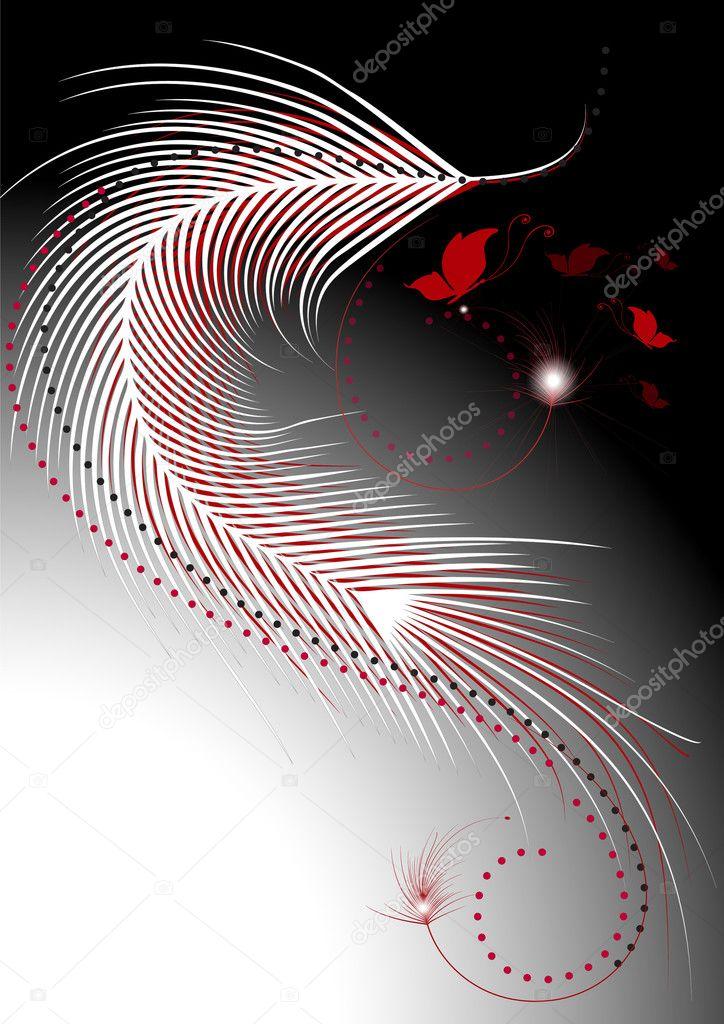 olas de plumas rojas y blancas con una decoracin de mariposas u vector de stock