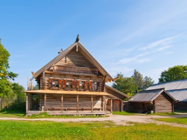 Traditional Russian wooden rural house.