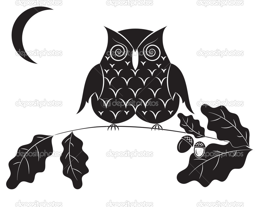 black silhouette of an owl on a branch of an oak and the moon