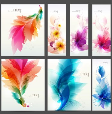 Set of floral cards for design stock vector