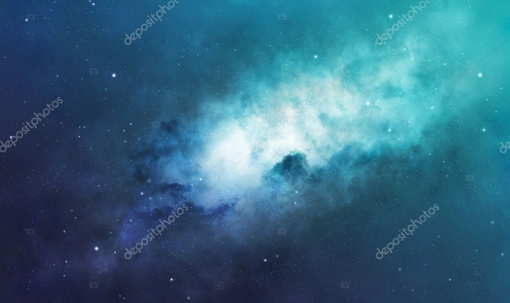 Blue and green nebula