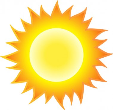 The sun burning like flame. Isolated on white background. Vector illustration stock vector