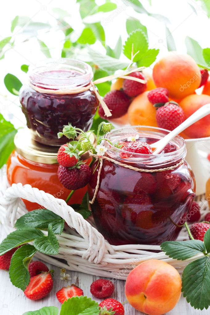 Various jams in jars
