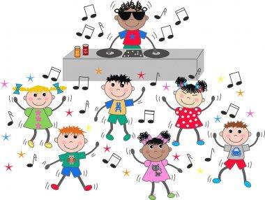 Mixed ethnic children dance discjockey