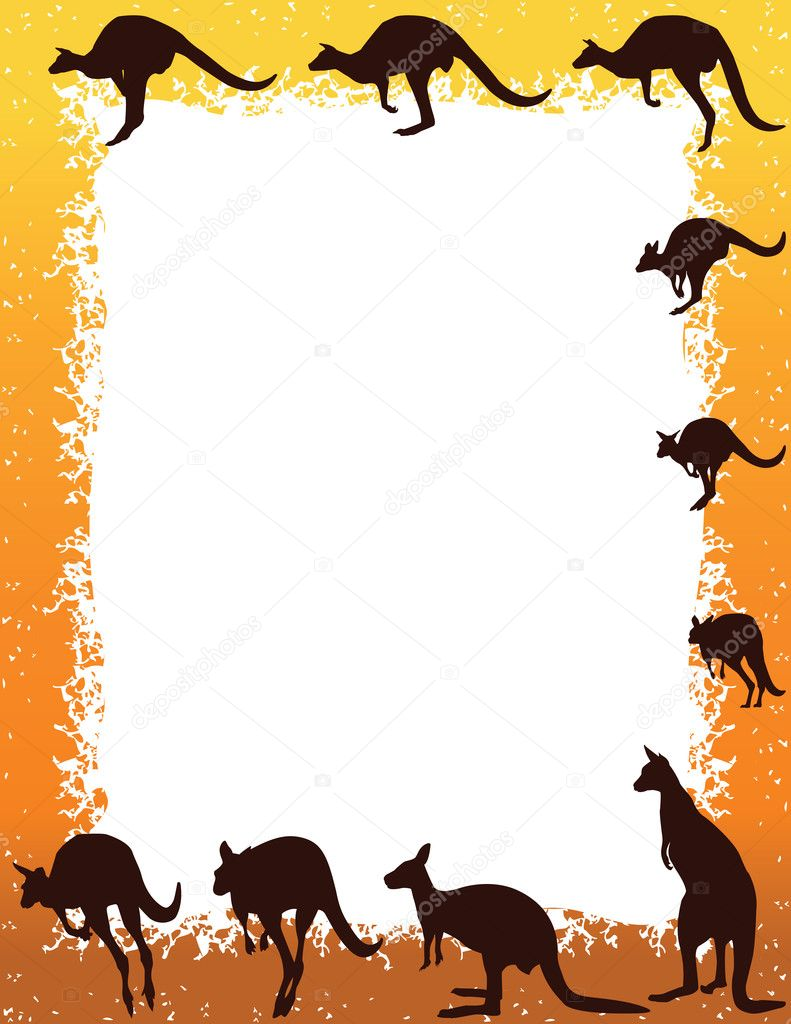 Kangaroo Border Around White Copy Space