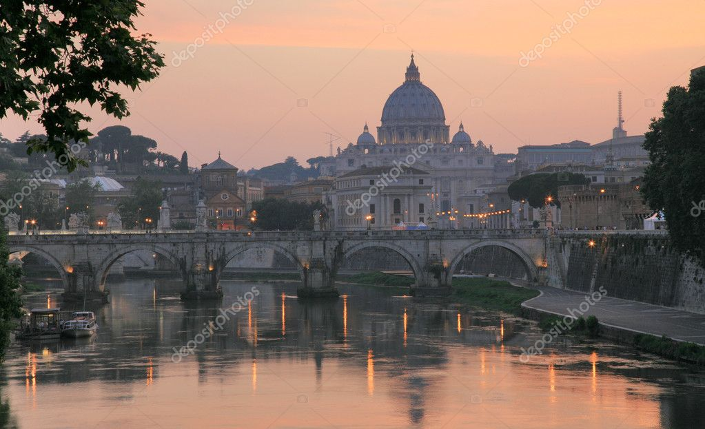 Vatican with Saint Peter's Basilica and Sant'Angelo's Bridge