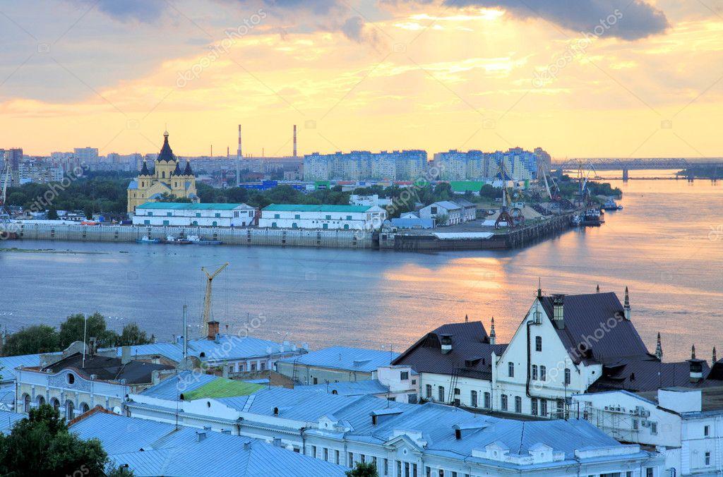Romantic july sunset in Nizhny Novgorod Russia