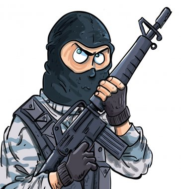 Cartoon SWAT member with a gun. Isolated on white stock vector