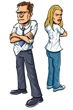 Cartoon Couple angry at each other