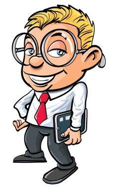 Cartoon cute nerdy office worker