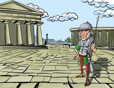 Cartoon Roman Legionary standing in front of a Roman temple stock vector