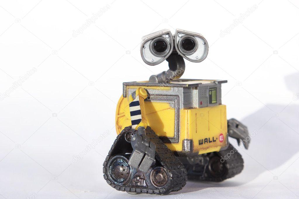 Valle di robot giocattolo su sfondo bianco — foto