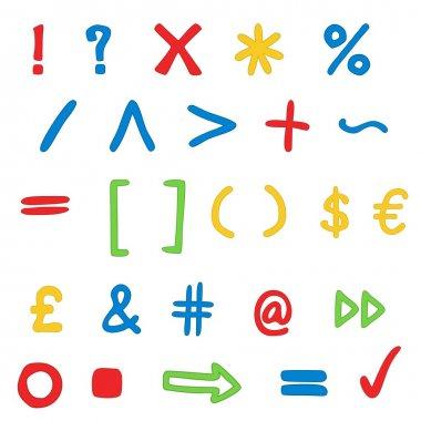 Striped set - marks, currency, school symbols