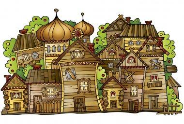 Cartoon wooden village