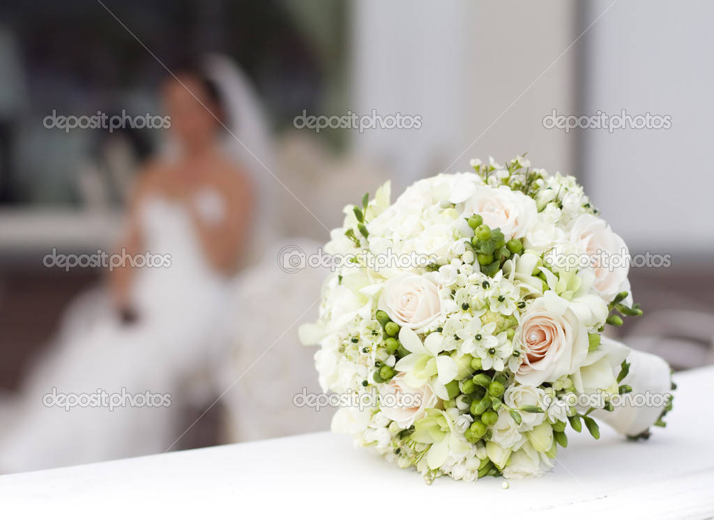 Wedding bouquet in basket