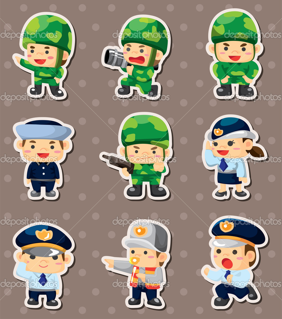Cartoon police and soldier stickers — Stock Vector